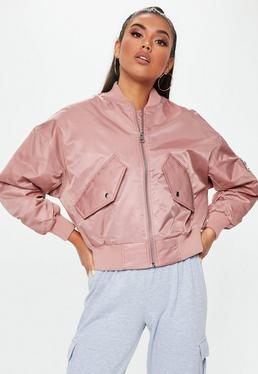 c8a44a72d9883d ... Petite Pink Satin Bomber Jacket