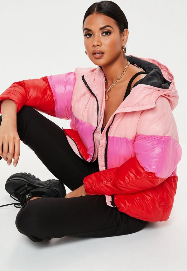 Petite Pink Colorblock Puffer Jacket