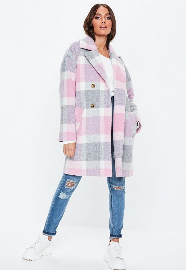 Petite Pink Plaid Print Cocoon Coat