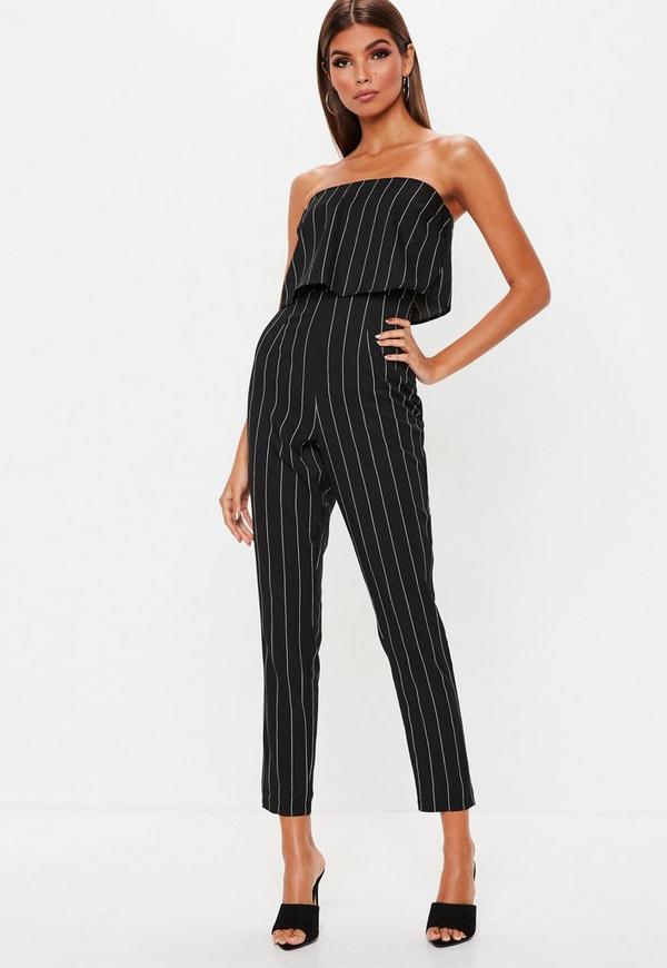8b2b60b415a Petite Black Stripe Bandeau Jumpsuit