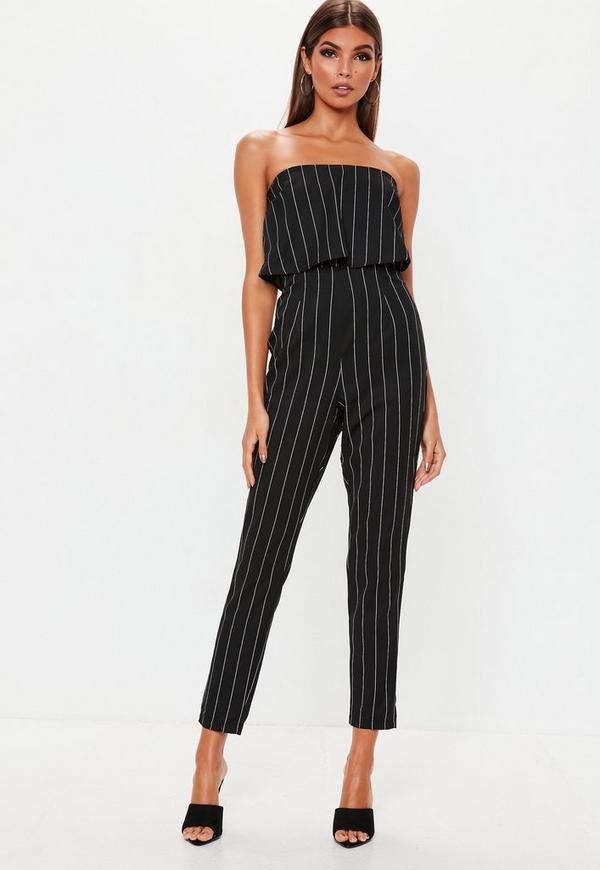 efac45693e3 Petite Black Stripe Bandeau Jumpsuit. Previous Next