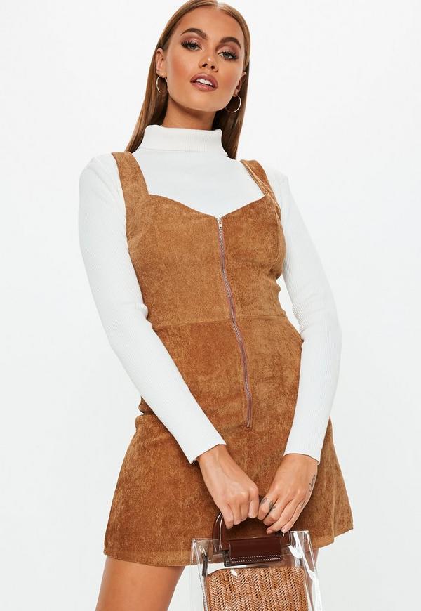 Petite Rust Cord Zip Front Mini Dress