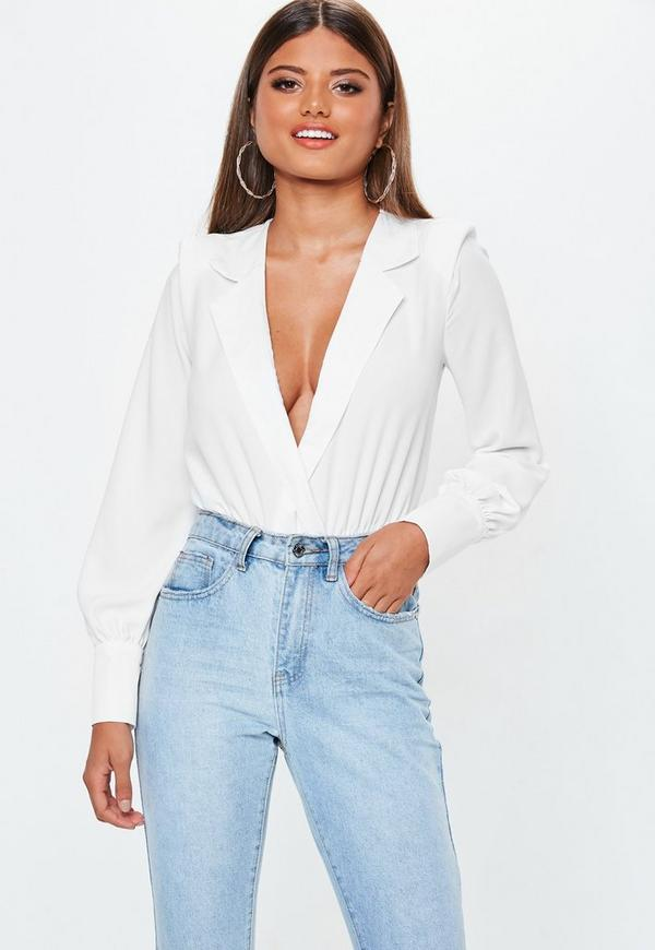 Petite White Tux Bodysuit