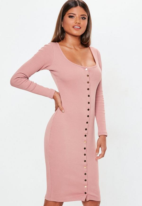 Petite Pink Long Sleeve Popper Midi Dress