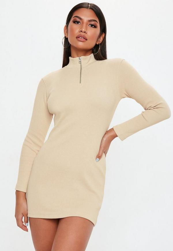 Petite Sand Zip Front Ribbed Bodycon Dress
