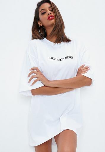 Petite White Nakey Nakey Nakey Oversized T Shirt Dress Missguided Ireland