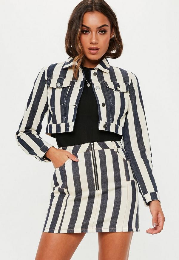 Petite White Striped Denim Jacket