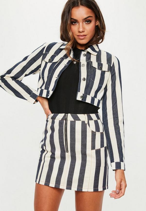 Petite White Striped Co Ord Denim Mini Skirt