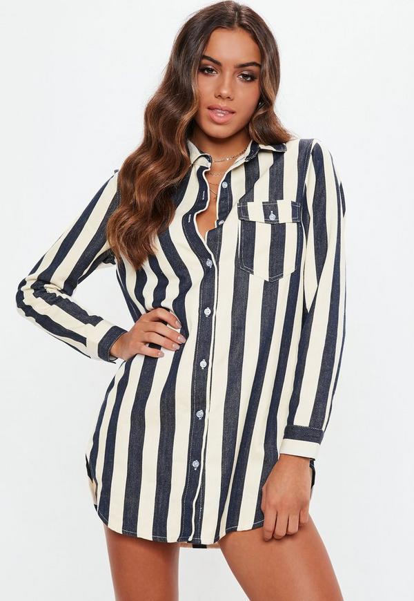 Petite White Stripe Denim Shirt Dress