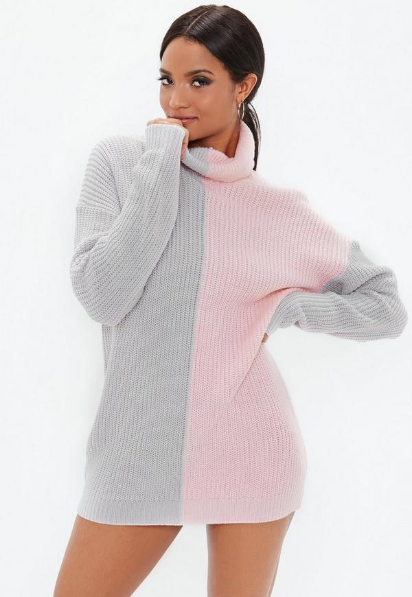 Petite Pink Roll Neck Splice Sweater Dress