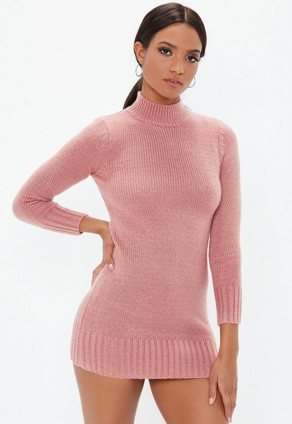 Petite Pink Fluffy High Neck Sweater Dress