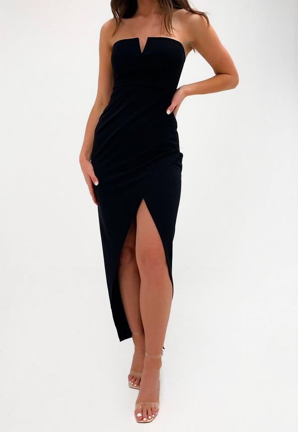 Petite Black V Bar Maxi Dress