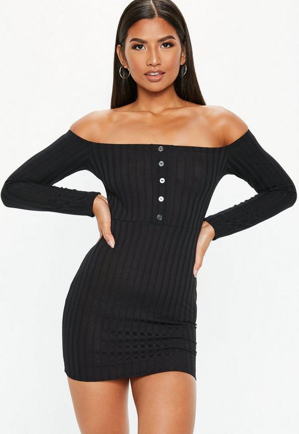 Petite Black Button Front Long Sleeve Bardot Dress