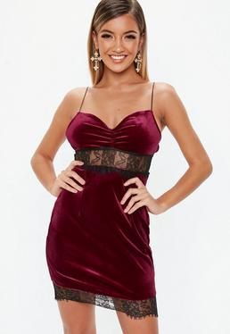 f33fe08917 ... Petite Burgundy Lace Insert Velvet Mini Dress