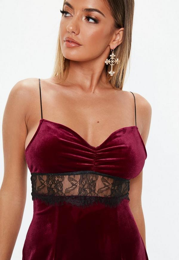 4115ff6e67a8 ... Petite Burgundy Lace Insert Velvet Mini Dress. Previous Next