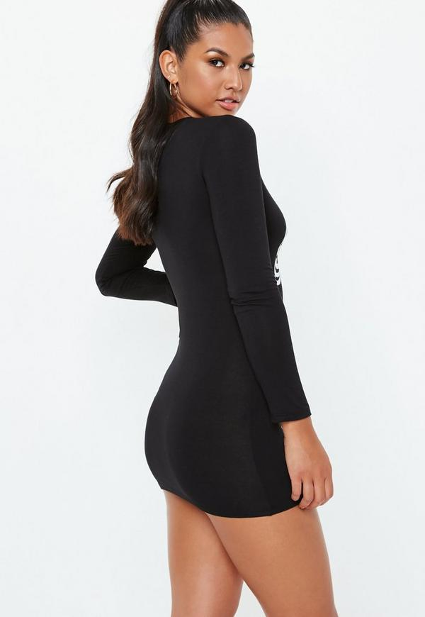 4c0bf14d66a9 Petite Skeleton Print Long Sleeve Bodycon Dress | Missguided Australia