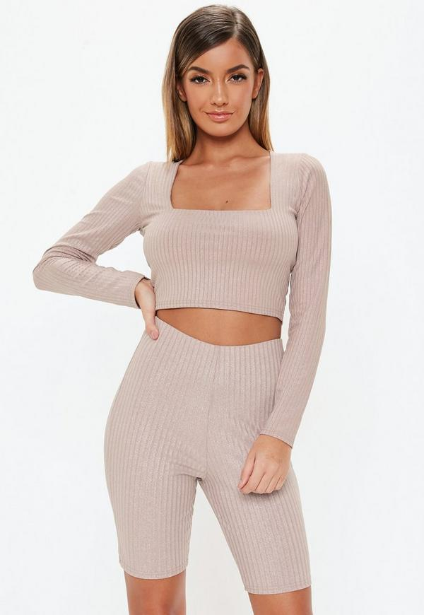 Petite Pink Co Ord Glitter Ribbed Top