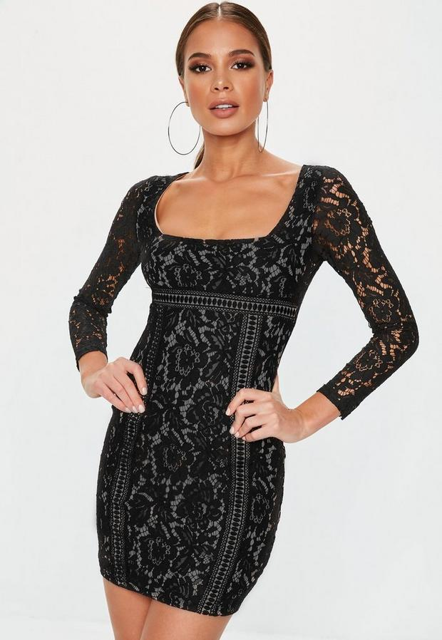 Missguided - Long Sleeve Lace Overlay Mini Dress - 1