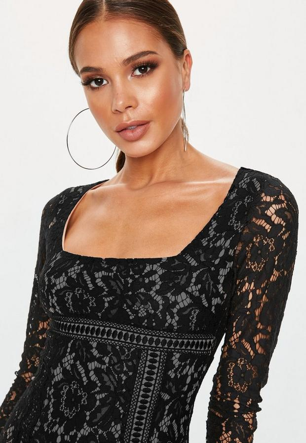 Missguided - Long Sleeve Lace Overlay Mini Dress - 3