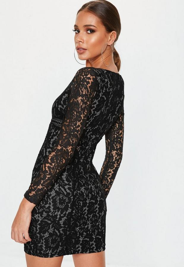 Missguided - Long Sleeve Lace Overlay Mini Dress - 4
