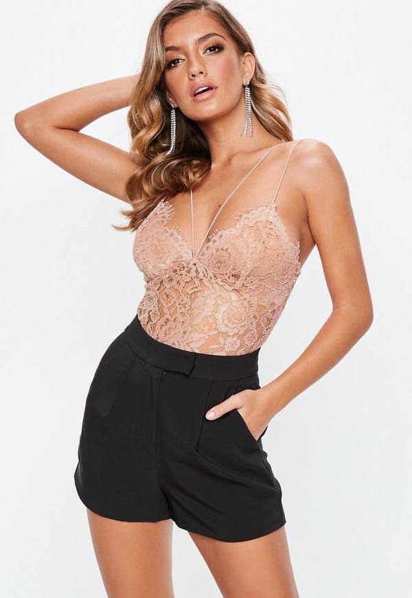 Petite Nude Corded Lace Harness Bodysuit