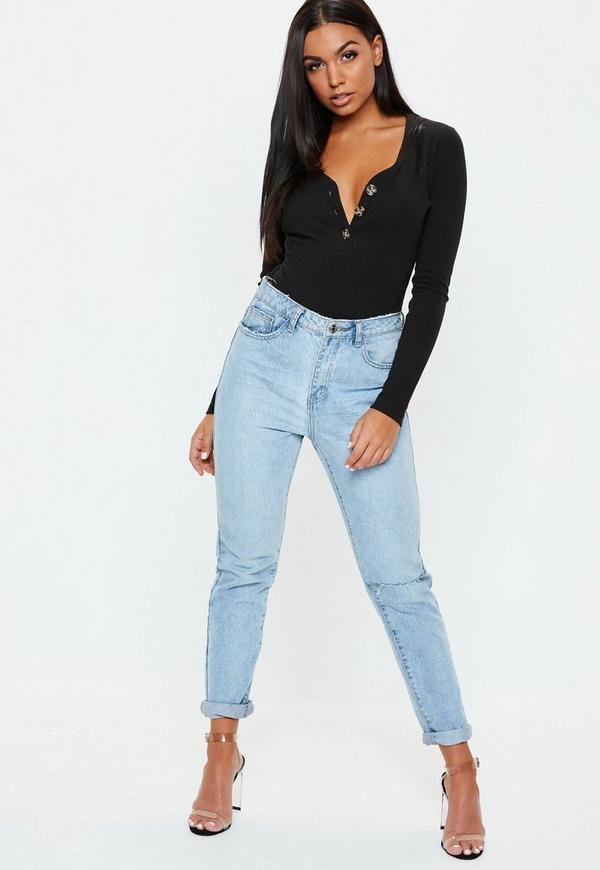 Petite Black Plunge Front Ribbed Bodysuit