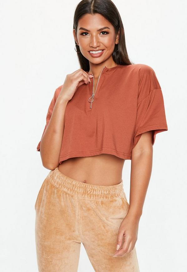 Petite Rust Zip Front Boxy Crop Top