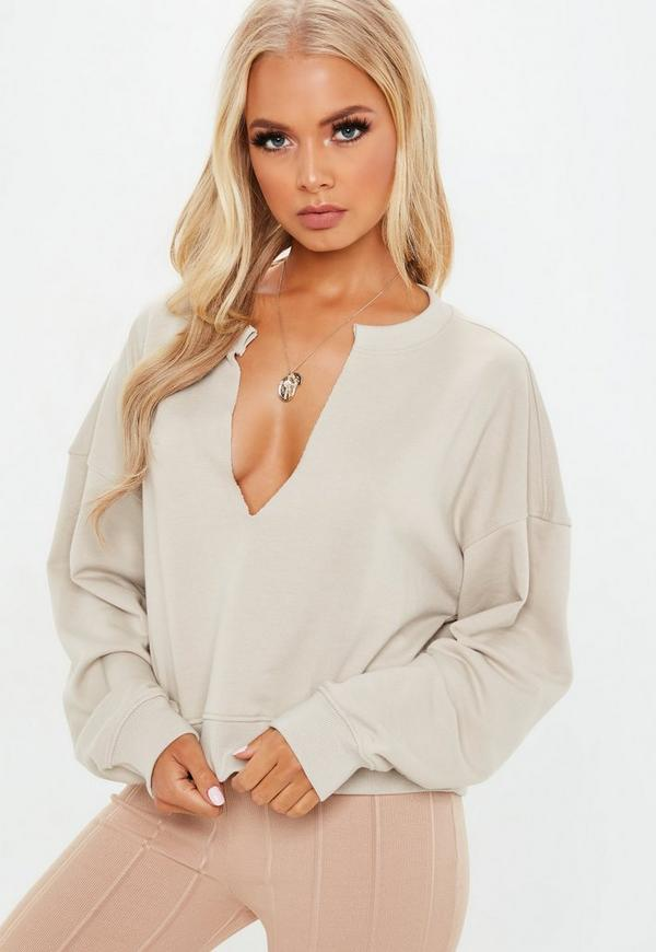 Petite Sand Oversized V Front Sweater by Missguided