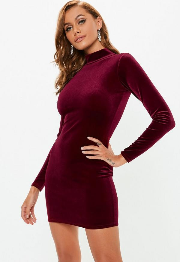 Petite Burgundy High Neck Velvet Mini Dress