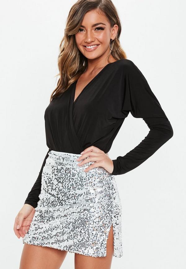 Petite Silver Sequin Mini Skirt