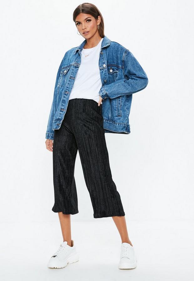 petite black pleated velvet culotte pants