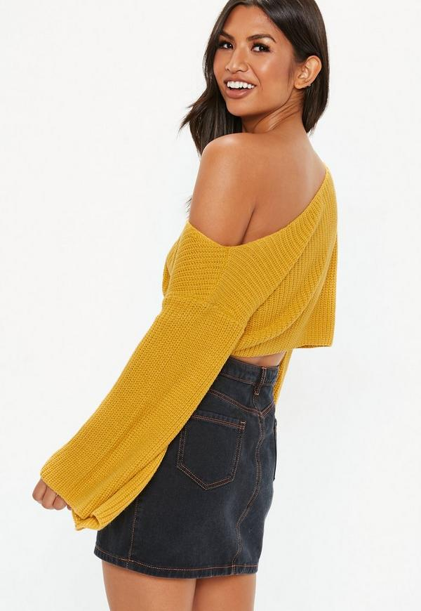 0a29326be4b Petite Mustard Flared Cropped Jumper. Hover to Zoom