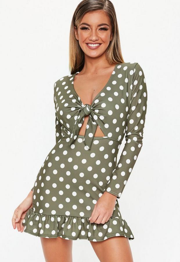 petite khaki polka dot tie front mini dress
