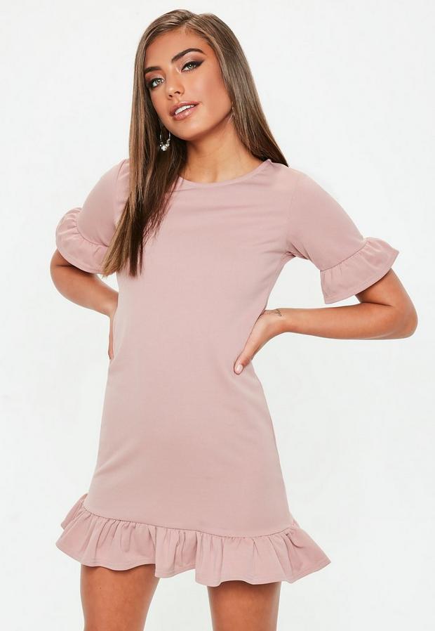 petite rose pink frill detail shift dress
