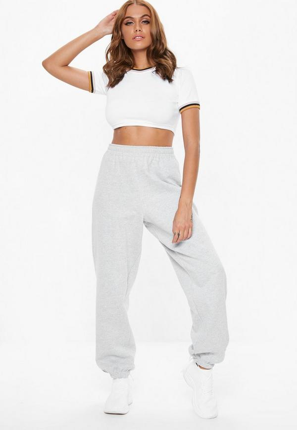 Petite white contrast ringer crop tee