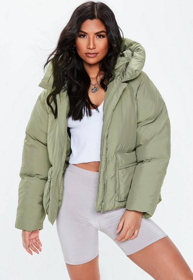 petite green oversized hooded ultimate puffer jacket