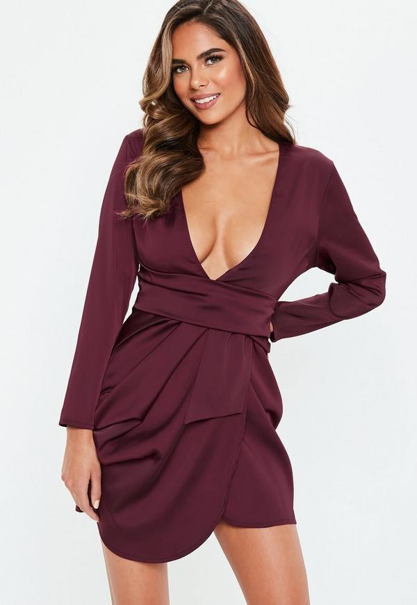 Petite Burgundy Satin Drape Dress