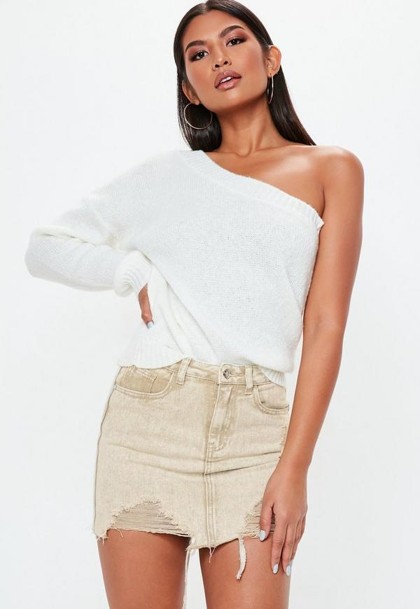 Petite Sand Distressed Denim Mini Skirt