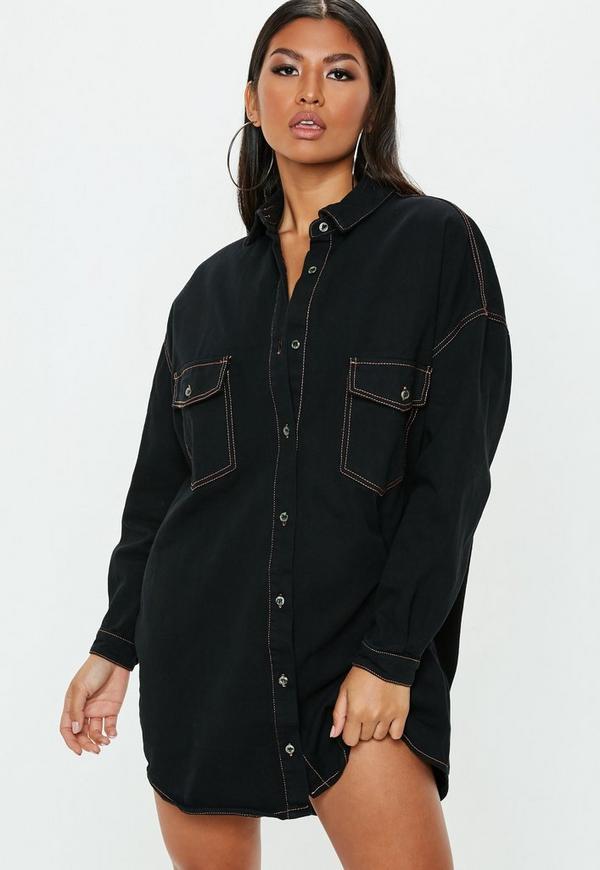 Petite Black Contrast Stitch Oversized Denim Shirt Dress