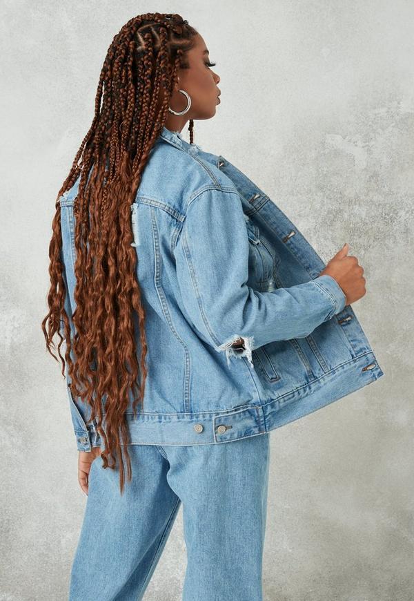 Petite Blue Light Wash Oversized Boyfriend Denim Jacket Missguided