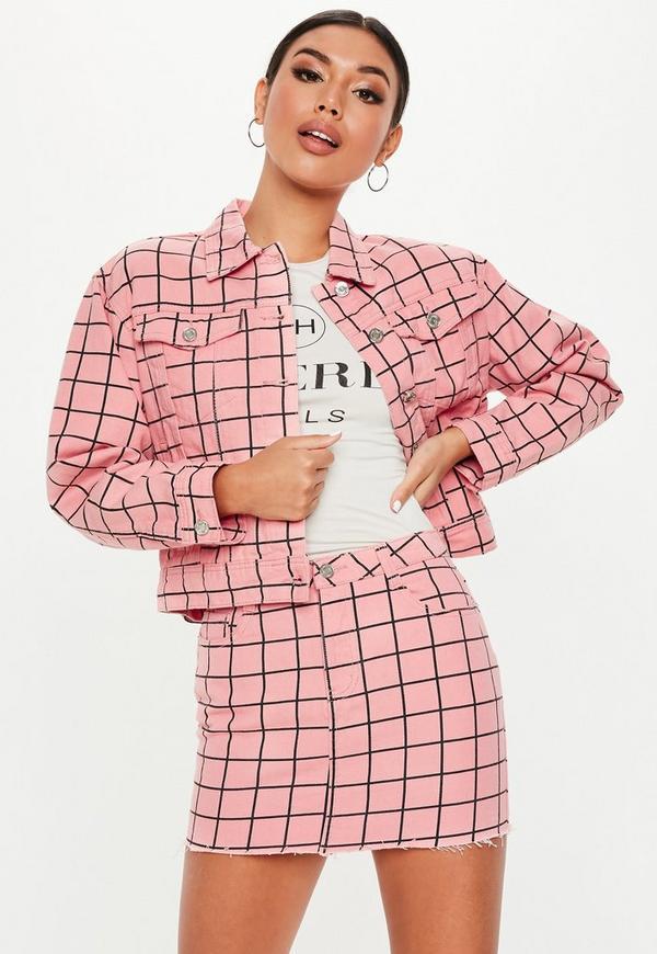 Petite Pink Grid Print Denim Co Ord Mini Skirt