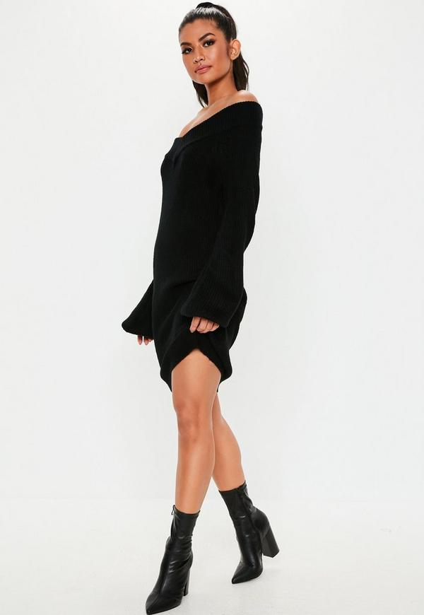 Petite Black V Neck Sweater Dress