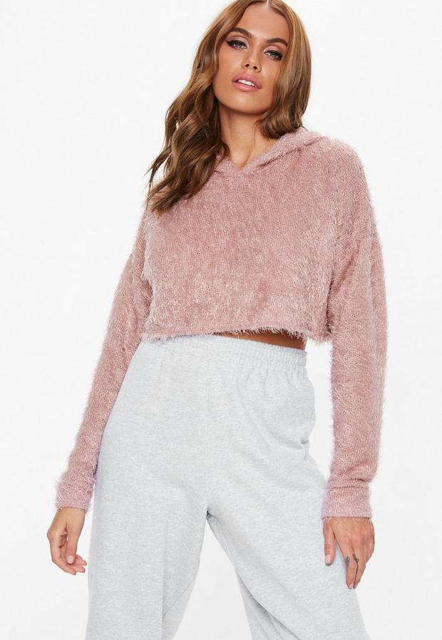 petite pink fluffy hooded cropped sweater