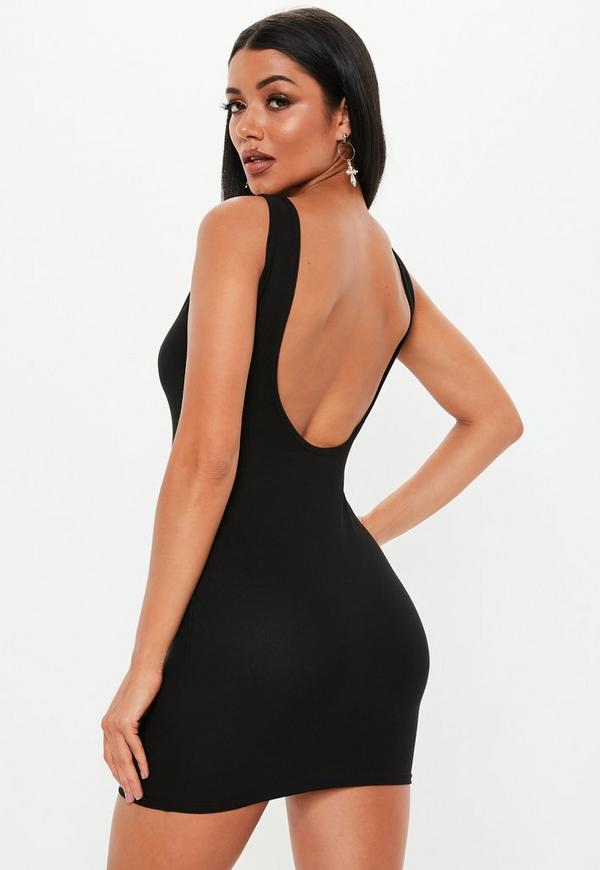 Petite Black Scoop Back Mini Dress