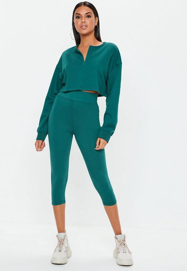 Petite Teal Zip Front Crop Sweatshirt
