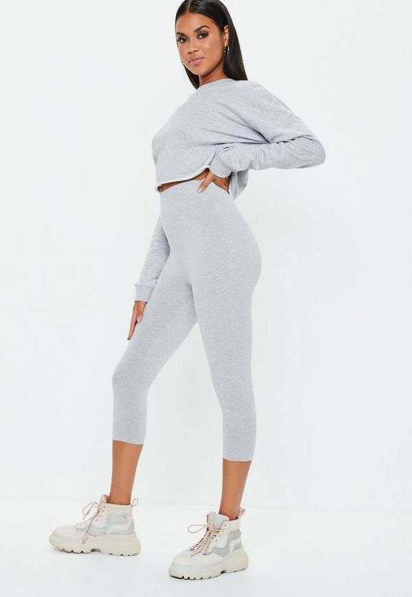 Petite Grey Cropped Leggings