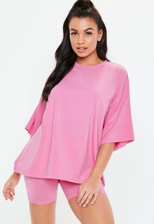 Petite Pink Drop Shoulder Oversized T Shirt