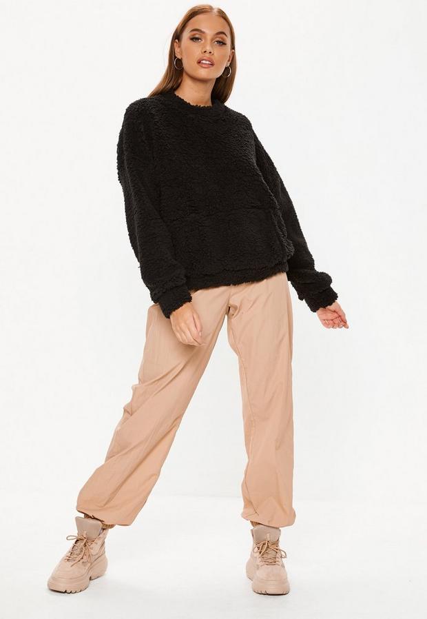 petite black teddy pocket front sweatshirt
