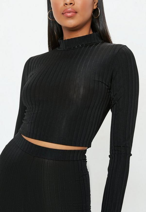84337b27539 Petite Black Ribbed High Neck Crop Top   Missguided Australia