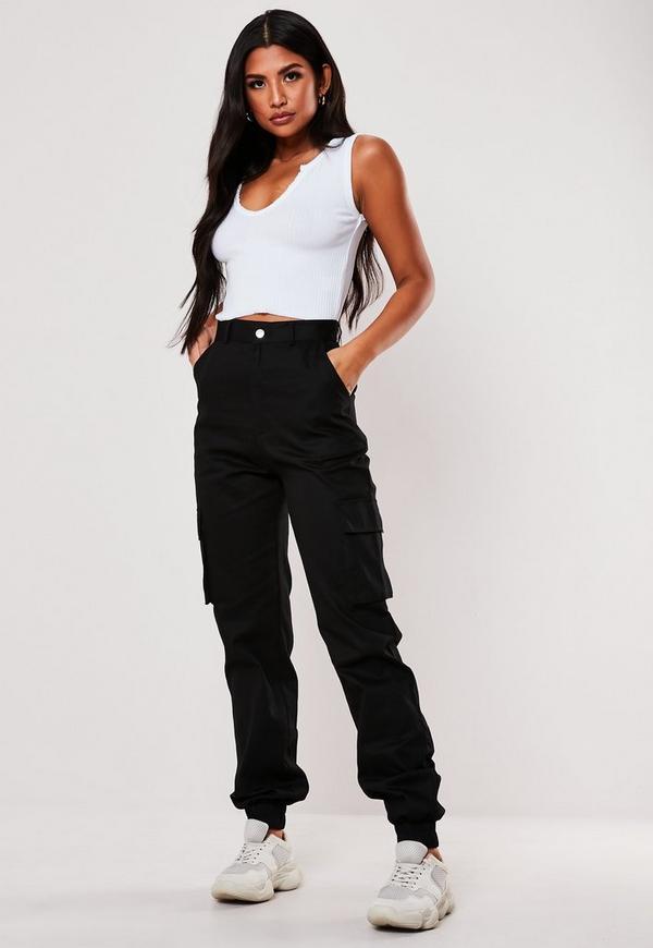 Petite Black Plain Cargo Pants